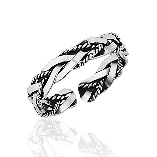 Sterling Silver Life Braided Ring - 925 Sterling Silver Braided Twisted Rope and Plain Thin Band Open Ended Band Toe Ring, 3mm