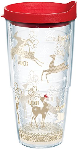 Tervis 1142412 Traditional Tumbler with Lid, On Comet and Cupid, Donner and Blitzen On Dasher, Dancer, Prancer, Vixen and Rudolph too All of Santa's reindeer make this design a holiday treat. , Red