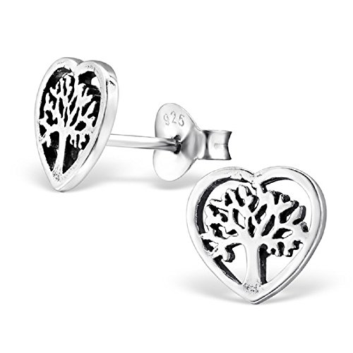 925 Sterling Silver Tree of Life Heart Stud Earrings 28252 by ICYROSE