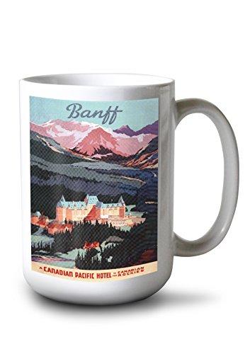 - Lantern Press Banff, Alberta, Canada - Exterior View of Banff Springs Hotel - Vintage Advertisement (15oz White Ceramic Mug)