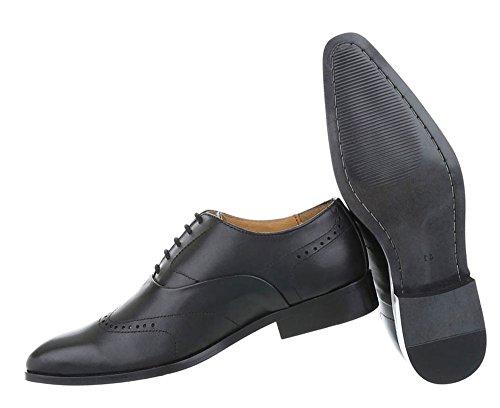 Herren Schuhe Business-schuhe Used Optik Leder Schnürer Schwarz