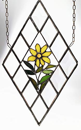 (Handmade Stained Glass yellow Daisy with Green Leaves and Stem set into a Border of Bevels )