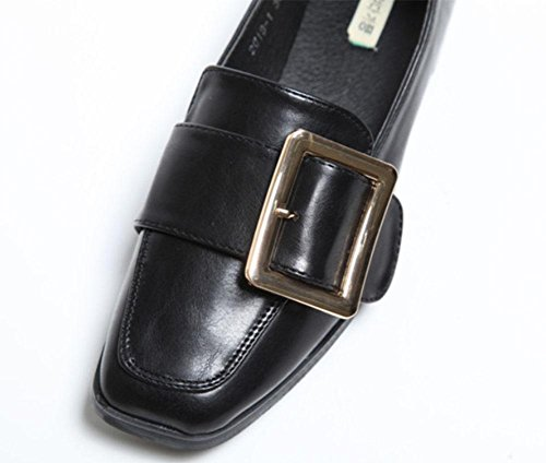MEILI Zapatos planos simples zapatos cuadrados hebilla de cinturón Sra. Zapatos de boca baja zapatos bajos black