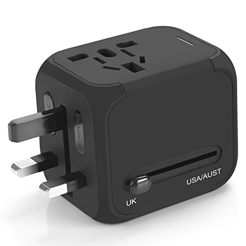 Price comparison product image Travel Adapter, Vogek Universal Travel Power Plug Adapter with 2.4A Dual USB Charging Ports for USA UK EU AUS NZ Cell Phones, Tablets and Laptop