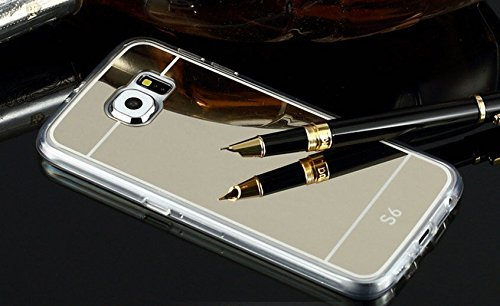 Sunikoo(TM) Ultra-thin Luxury Mirror Soft TPU Frame Case Cover for Samsung Galaxy S6 G920 (Gold for S6)