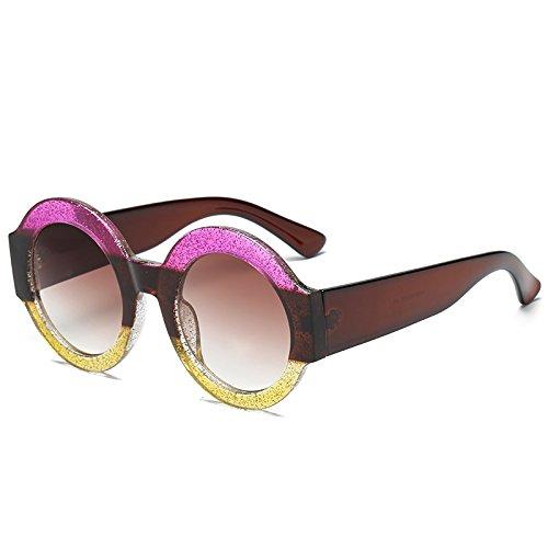 Marke Spiegel Frauen Sonnenbrille Sonnenbrille Objektiv Moda marrón Weiblich Brillen Marrón Runde Für Rahmen amarillo Rosa KXLEB EqwXRtA