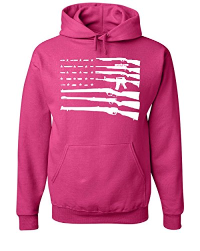 American Flag Hoodie 2nd Amendment Gun Rights Homeland AR15 Sweatshirt Hot Pink (Gun Sweatshirt)