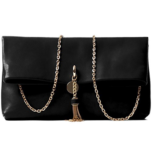 Handbag Republic Women's Designer Vegan Leather Chain Clutch Style Evening Bag For Women Ladies (Clutch Style Evening Bag)