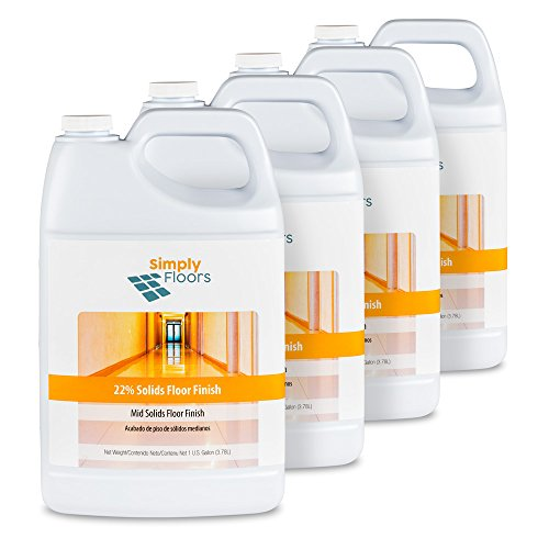 - Simply Floors FLC-00005 22% solids Floor Finish - [Pack of 4 - 1 gallon bottles] Economical Mid solids, High Gloss, Finish, Wax and Polish, Liquid Metal Cross Link Acrylic Floor Coating and Protecting Solution