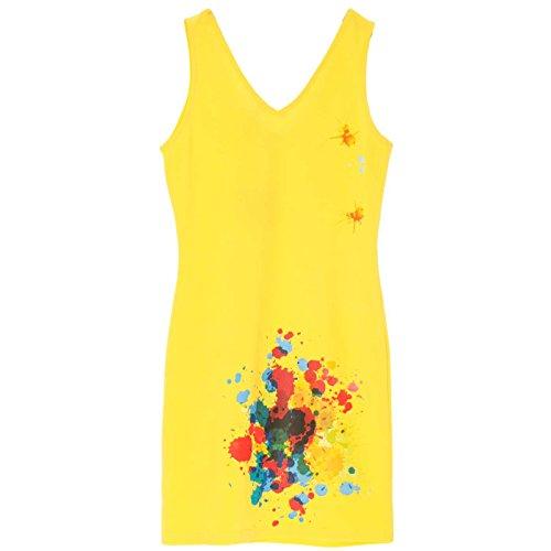 Miss Wear Line - Robe d'été jaune avec motif tache de peinture