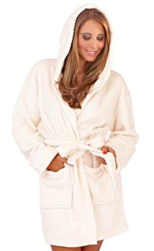 VB© Ladies Womens Snuggly Corel albornoz con capucha Fleece Robe Super cálido y cómodo de muy Bazaar (TM) crema
