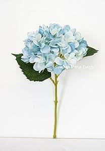 Sweet Home Deco 18'' Silk Hydrangea Single Stem Autumn Colors (Baby Blue)