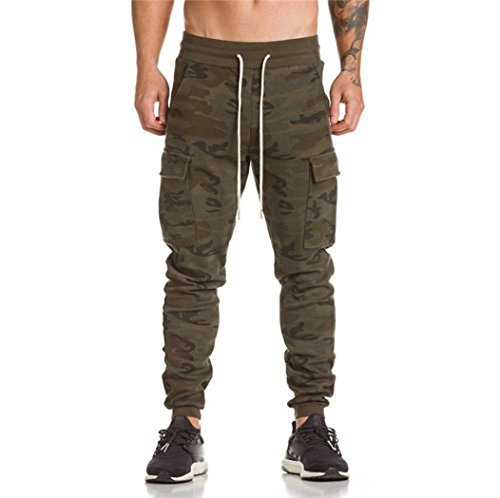 Hot Sale! ❤️ Men Trousers, Neartime Casual Pants Harem Sweatpants Personality Side Pocket Slim Drawers Jogger Dance Sportwear Baggy Slacks (❤️AsianM, Camouflage)