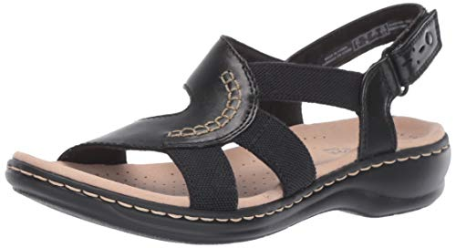 CLARKS Women's Leisa Joy Sandal, Black Leather/Textile Combo, 075 N US ()