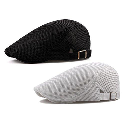 (2 Pack ZLSLZ Mens Mesh Breathable Ivy Newsboy Cabbie Gatsby Golf Flat Sun Hat Cap (white black))