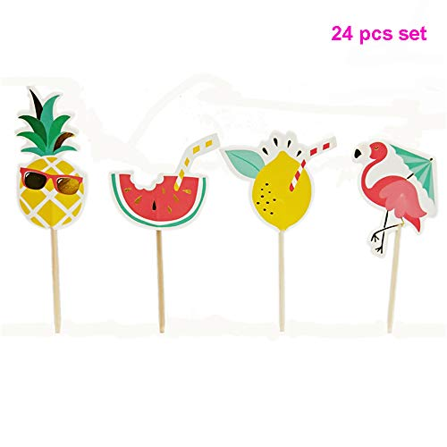GrantParty Baby Shower 24 Pcs/Set Summer Flamingo Pineapple Watermelon Cupcake Toppers Kids Happy Birthday Theme Cake Decoration Supplies -