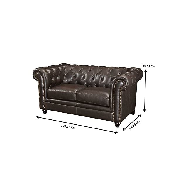 Roy Button-Tufted Loveseat with Rolled Back and Arms Brown