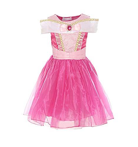 MOREMOO Girls Drop Shoulder Princess Aurora Costume Dress -