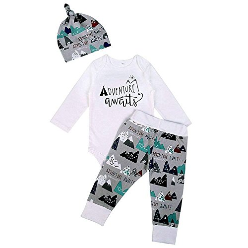 Happy Town 3Pcs Baby Boys Girls Mountain Print Long Sleeve Pant Set Romper With Hat (White, 18-24M)