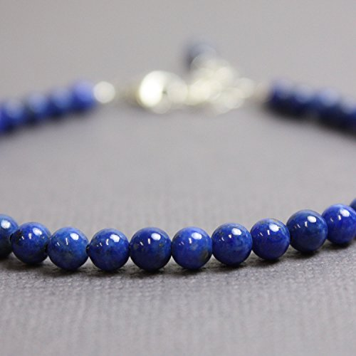 - Lapis Lazuli Bracelet-Adjustable-4mm Beads with Sterling Silver Lobster Clasp