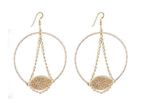 Lucky Star Jewels Women's Gold Druzy Kat Earrings
