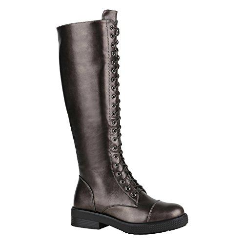 Stiefelparadies Damen Schuhe Schnürstiefel Biker Boots Schnallen Metallic Stiefel Flandell Grau Metallic Glänzend Camiri