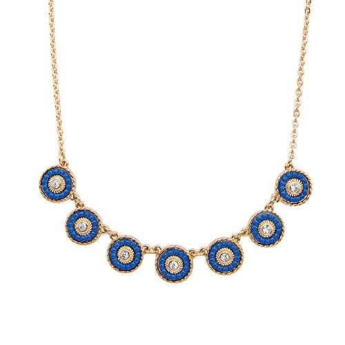 14k Gold Yellow Plated Round Crystal and Blue Beaded Halo Collar Rolo Link Necklace 16