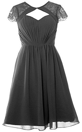MACloth Elegant Cap Sleeves Short Bridesmaid Dress Wedding Party Formal Gown Grau uNXlu9Y