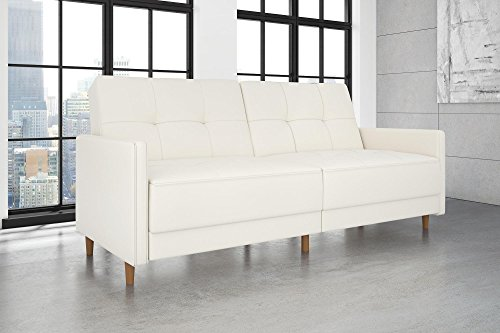 DHP Andora Coil Futon Sofa Bed Couch with Mid Century Modern Design - White Faux Leather
