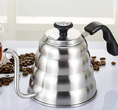 American hot water pot with Precise Temperature- Stainless steel teapot-Hand coffee maker 1.2L (Black)