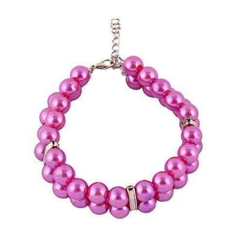 eDealMax Perles Plastique Strass Ornement de Chat de Mariage 2 ranges de Chien Collier Pour Chien Collier Violet