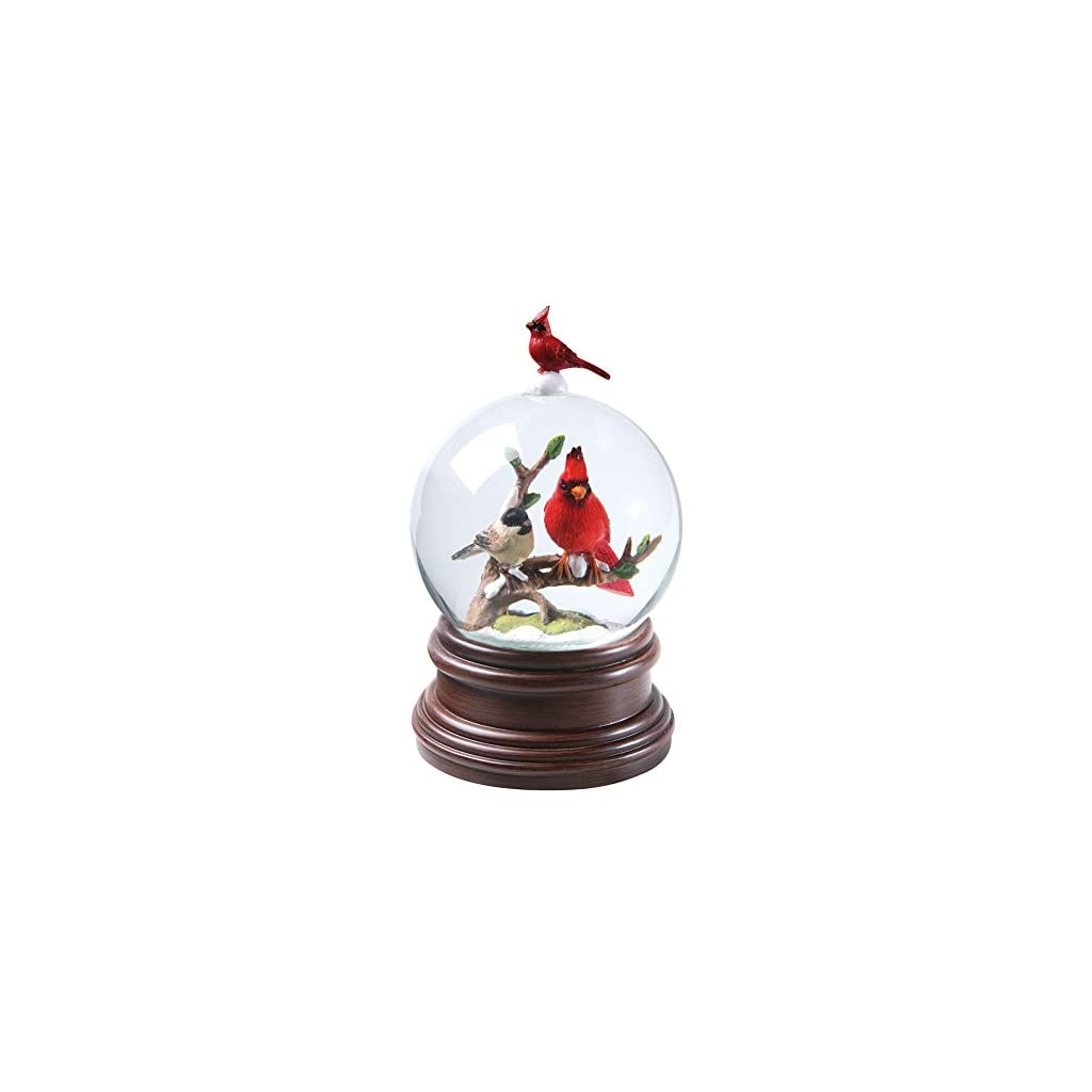 CATALOG CLASSICS Cardinal & Chickadee Winter Birds Musical Snowglobe – Snow Globe Plays Pachelbel's Canon in D