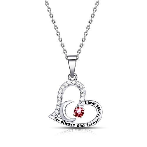 ivyAnan Jewellery Birthday Gift for Women I Love You Dancing Birthstone Ruby Necklace Jewelry Gift for Women Girls Daughter Wife ()