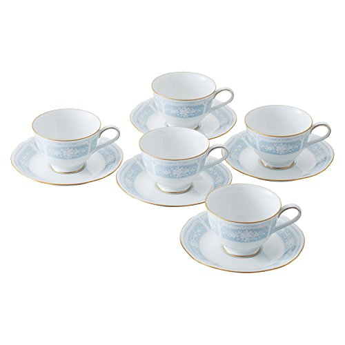 Noritake Fine porcelain Lacewood Gold Tea Coffee cup and saucer 5 sets ()
