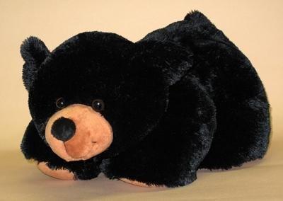 "Wishpets 19"" Floppy Black Bear with Big Nose Plush Toy"