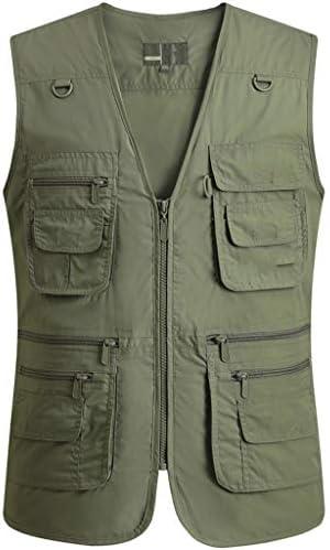 QIQIDEDIAN 釣りベスト 男性の春と秋の薄いセクションの綿カジュアルマルチカラーノーカラーベストベストの中年のベストショルダーコート (Size : 4XL)