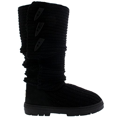 Winter Boot Holly Rain Boot Womens Black Snow Warm Nylon Snow Waterproof Knitted Tall wwqHpXx