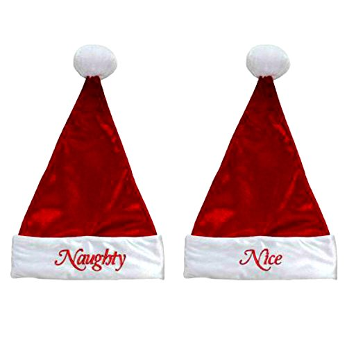 Naughty and Nice Christmas Santa Hats Bundle - Set of 2