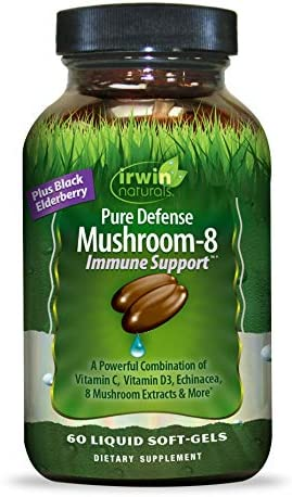 Irwin Naturals Pure Defense Mushroom-8 Powerful Robust Immune Support Supplement with 8 Organic Mushroom Blend, Vitamin C D3, Echinacea Black Elderberry – Maximum Potency – 60 Liquid Softgels