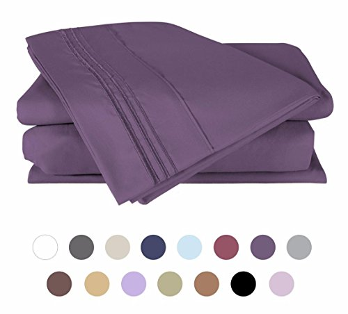 Bed Sheet Set, 100% Double Brushed Softest 4pcs 1800 Microfiber Hypoallergenic Bedding Set, Wrinkle, Fade, Stain Resistant by Duck and Goose, Queen, Purple