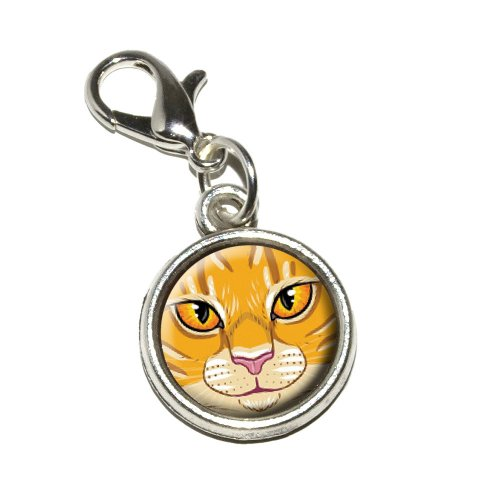 Graphics and More Orange Tabby Cat Face Pet Kitty Antiqued Bracelet Pendant Zipper Pull Charm with Lobster Clasp