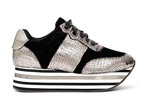 Cafè Sneaker Dc905 Nero Macrosuola E A Scarpe antracite Donna Vipera Stampa Noir Righe rr4wqd