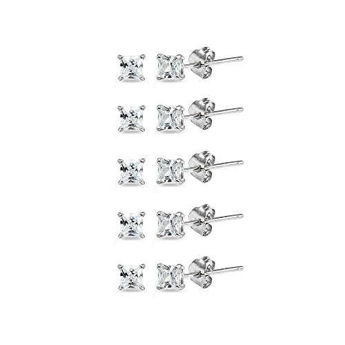Sterling Silver Cubic Zirconia set of 5 Princess-Cut Square 2mm Stud Earrings