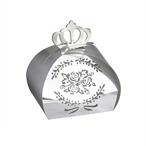 - YOZATIA 50PCS Wedding Favor Boxes, 2.6'' x 2'' Round Crown Silver Gift Boxes Candy Holders for Birthday Party Wedding Favor(Silver)