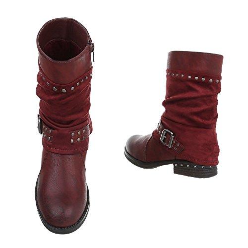 Damen Boots Wadenhoch | Stulpen Stiefelette | | Used runde Stiefelette | Motorrad Stiefel | Flache Stiefelette | Hosenstiefel ausgefallen | Schuhcity24 Weinrot