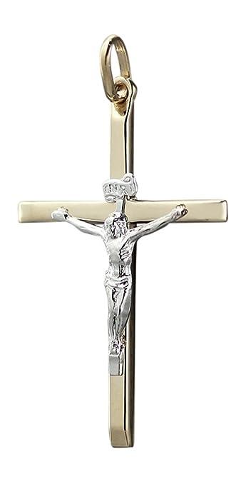Bicolor Anh/änger Kreuz Mit Jesus 14 Karat 585 Gelbgold Wei/ßgold Unisex
