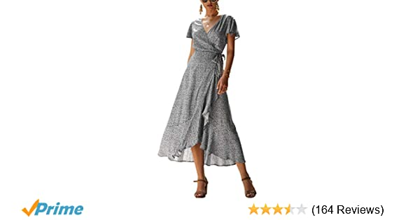 f330d19818 ECOWISH Women's Bohemian Floral Printed Wrap V Neck Short Sleeve High Split  Beach Party Maxi Dress
