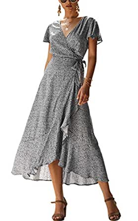 091c42f9575d7 ECOWISH Women's Bohemian Floral Printed Wrap V Neck Short Sleeve High Split  Beach Party Maxi Dress
