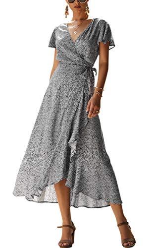 ECOWISH Women's Dresses Bohemian Wrap V Neck Short Sleeve Ethnic Style High Split Beach Maxi Dress 023 Black Small