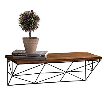 MyGift Modern Wall-Mounted 24-Inch Wood & Metal Wire Floating Shelf